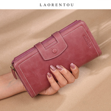 LAORENTOU Large Capacity Card Holder Female Purse Lady Cowhide Phone Bag Women Long Wallet Coin Case Leather Money Bag Clutch
