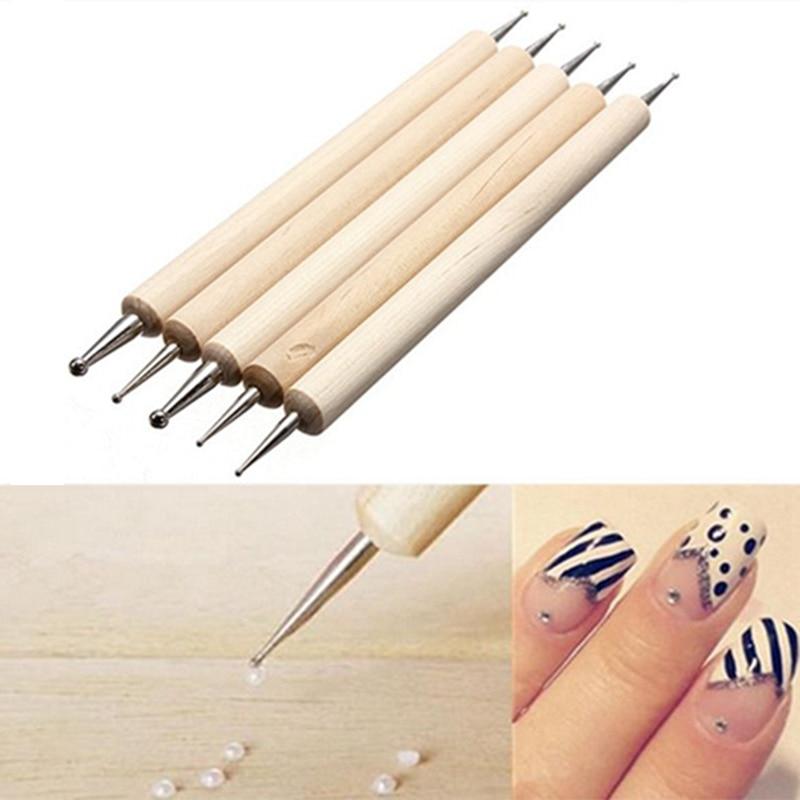 5 pçs 2 maneira de madeira caneta marbleizing ferramenta arte do prego ponto pontilhar ferramentas para o design da arte do prego manicure strass picker
