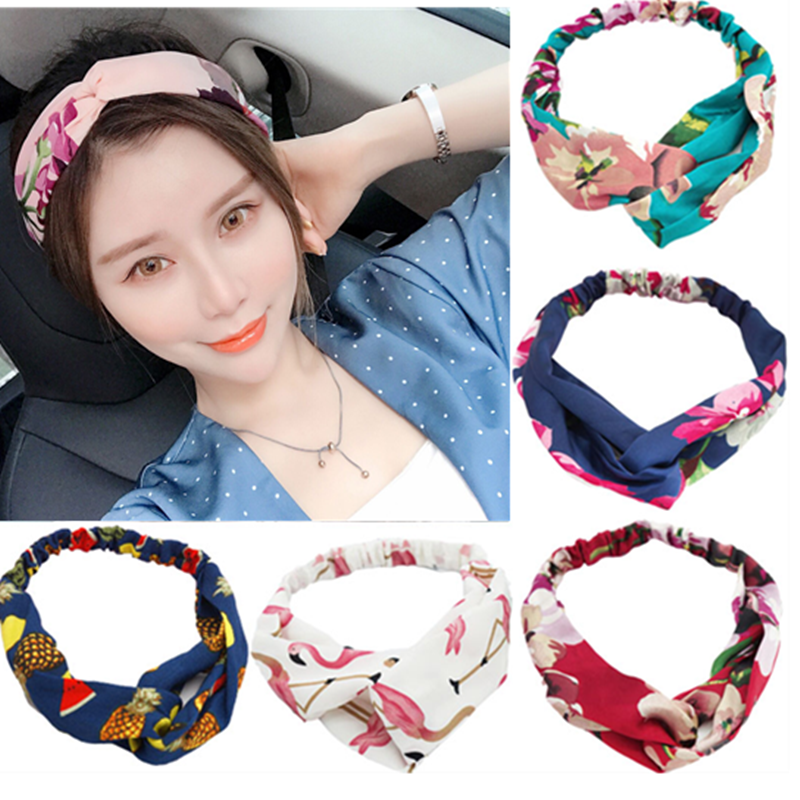 Fashion Bohemian Hairbands Print Headbands For Women Girls Vintage Cross Turban Bandage Bandanas Hairwear Hair Accessories