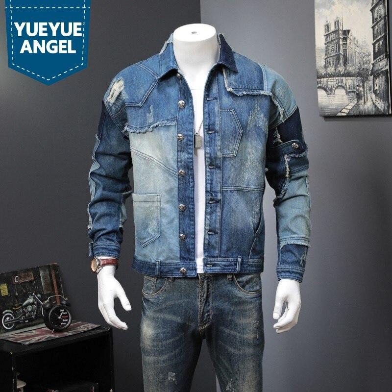 Spring Autumn Vintage Mens Spliced Denim Jacket Man Casual Streetwear Hip Hop Loose Fit Buttons Single Breasted Biker Jean Coat