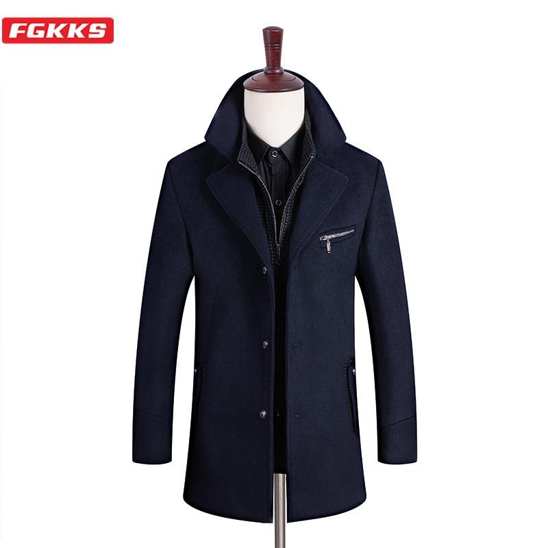 FGKKS Winter New Men Wool Blend Coats Men's Lapel Thicken Overcoat Brand Clothing Business Wild Wool Coat Male