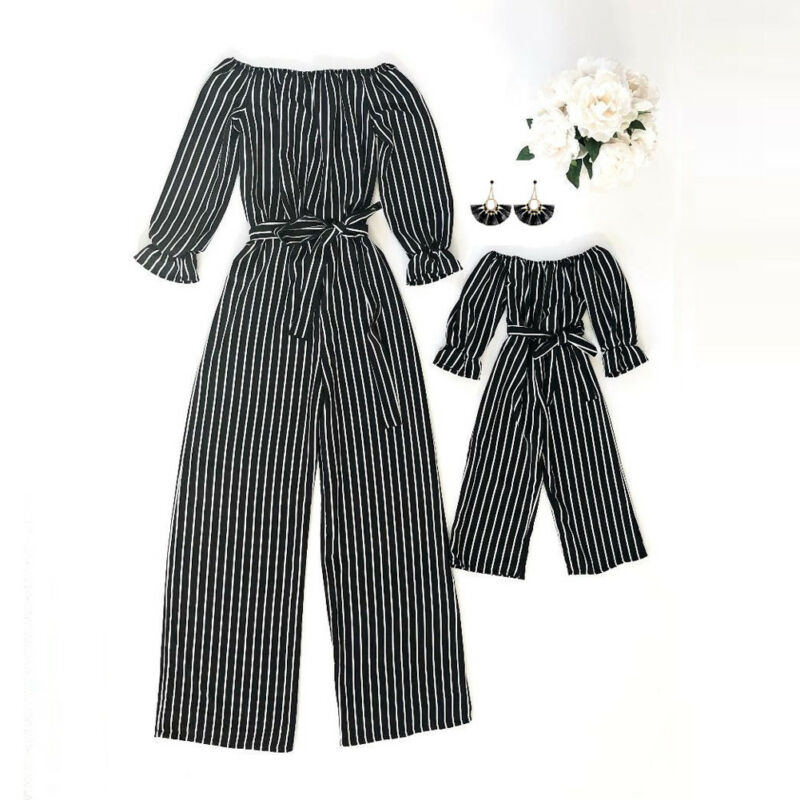 Fashion Striped Family Matching Clothes Mother And Daughter Clothing Mommy And Me Romper Women Baby Girl Casual Jumpsuit Outfit