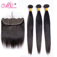 Mshere Hair Peruvian Straight Hair Bundle With Frontal Closure Human Hair Extensions 3 Bundles With 13x4 Frontal Non Remy Hair