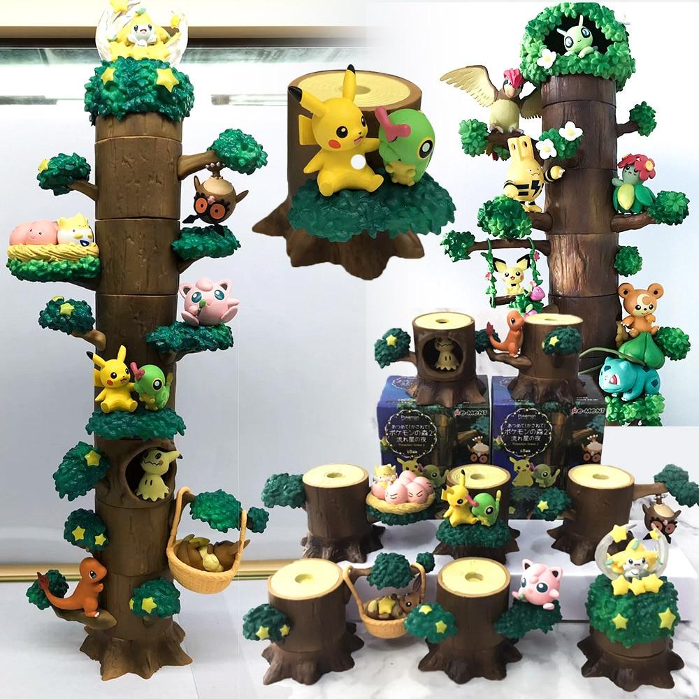 Takara Tomy 8pcs/set Pocket Monster Pokemon Tree Doll Eevee Snorlax Kids Gifts Model Toys Pikachu Action Figure