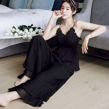 L608 pink black Two-piece spaghetti atrap long pant sleepdress home style sleepwear women pajamas