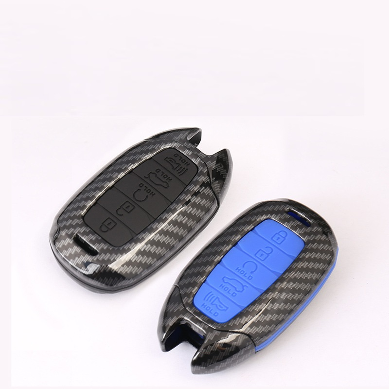 Carbon Fiber ABS Silicone Car Key Case For Hyundai KONA Encino Ix35 Grandeur Ig Accent Santa Fe Palisade 2018 2019 cover