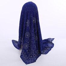 Шифоновый платок с жемчужинами в национальном стиле, квадратный шарф в мусульманском стиле 105*105 см, женский модный головной платок с бусинами, оптовая продажа