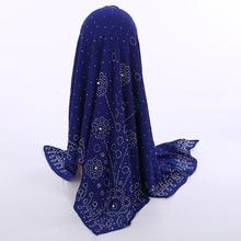 חדש לאומי סגנון פרל שיפון מוסלמי כיכר צעיף 105*105cm נשים של אופנה חרוזים כיסוי הראש