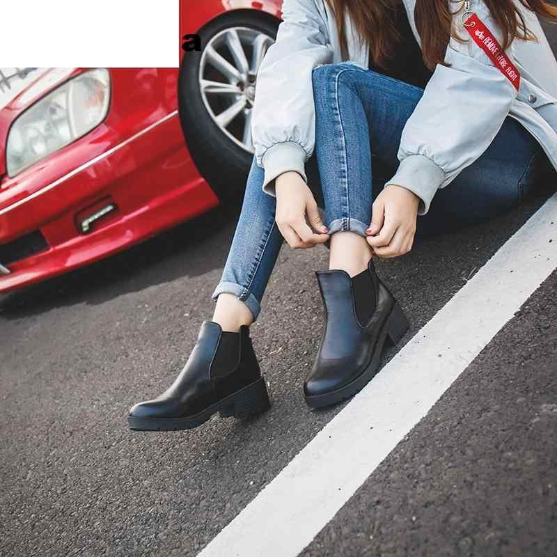 Nuevo estilo caliente de moda botas de mujer de cabeza redonda gruesa de cuero Pu A prueba de agua botas Martin tobillo Primavera/otoño 2019