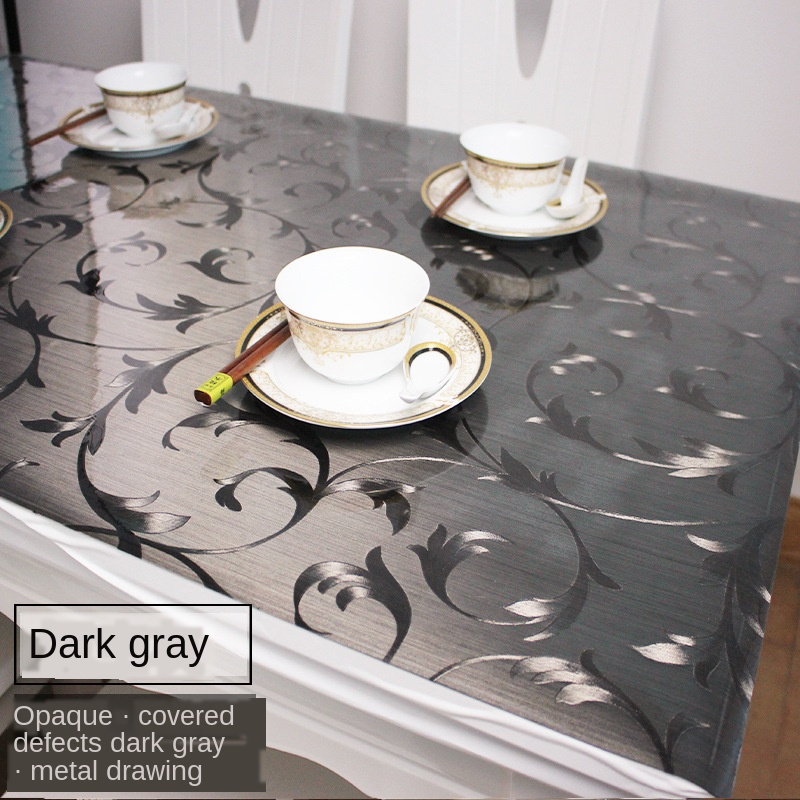 Soft Glass Tablecloth Waterproof Desktop Protective Film Coffee Table Table Mat Square PVC Plastic Table Board Dining Table Mat