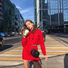 Sisterlinda Red Hoodies Women Long Sleeve Crop Top Crop Skirts Womens 2 Pieces