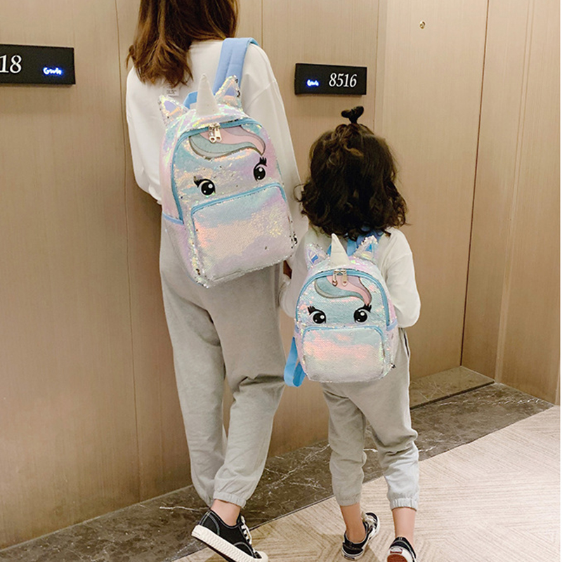 Shining Unicorn Sequin Backpack Cute Bags For Parent-child Shopping Travel School Backpack Good Dad Choice Luck Girls
