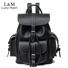 Vintage plecak ze sznurkiem kobiety wysokiej jakości PU skórzane plecaki Sac a Dos czarny 2020 torba na ramię kobiece torby szkolne XA1179H