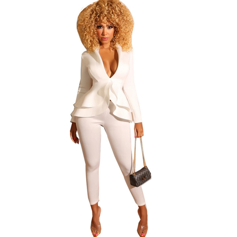 Ruffle Sexy Two Piece Pants Set Women Outfits White Blazer Jacket Top And Pants Suit Set Elegant 2 Piece Women Suits Office Sets