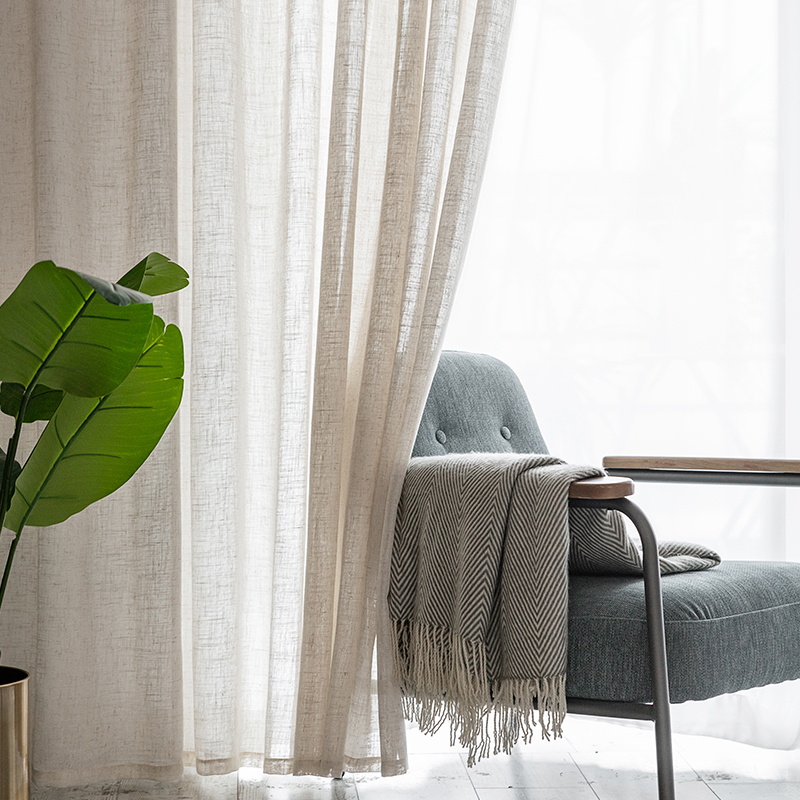 Japanese Style Tulle Curtains Window For Living Room Brown Cotton Linen Volie Curtains For Bedroom Sheer Curtains Blinds Drapes