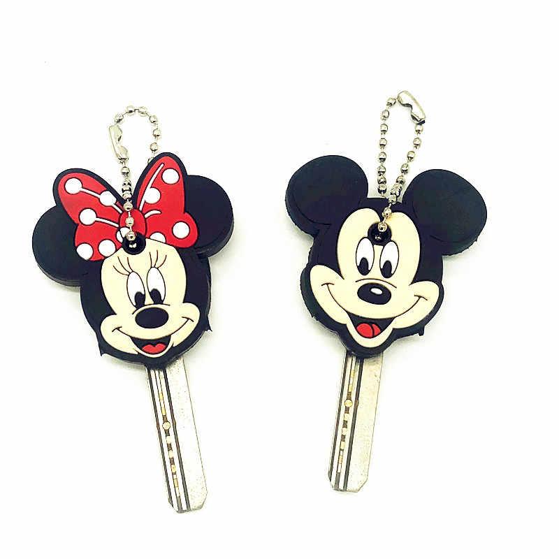 1 pièces dessin animé Anime mignon clé couverture casquette Silicone Mickey point Minnie porte-clés femmes cadeau porte-clés enfants sac pendentif porte-clés