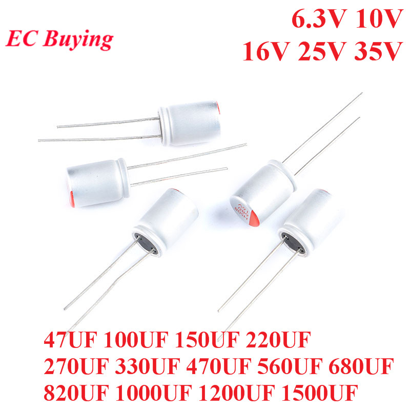 10pcs DIP Solid Electrolytic Capacitor 6.3V 10V 16V 25V 35V 100UF 150UF 220UF 330UF 470UF 560UF 680UF 820UF 1000UF 1200UF 1500UF