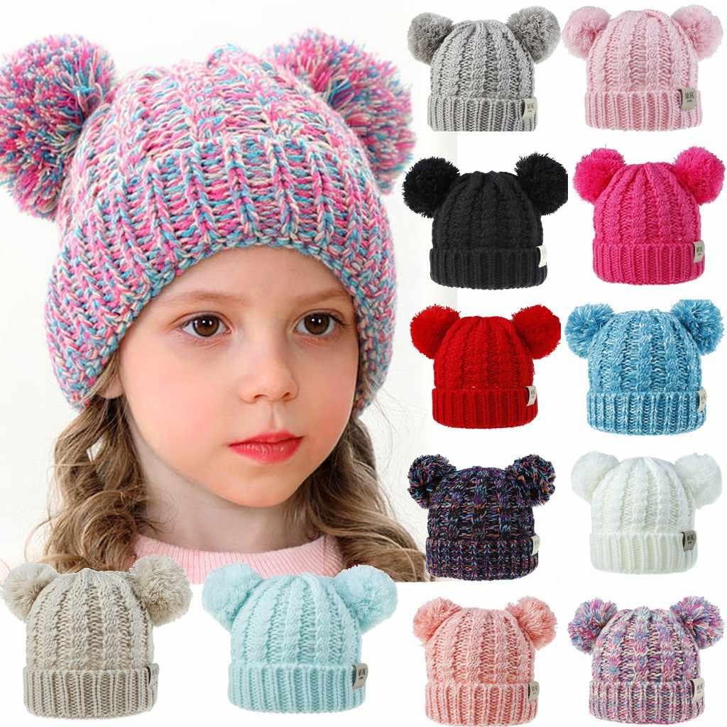 Beanies Baby Hat Pompon Winter Children Hat Knitted Cute Cap For Girls Boys Casual Solid Color Girls Hat Baby Beanies #L10