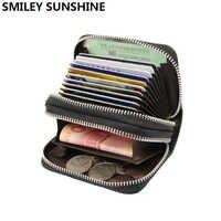 En cuir véritable portefeuille porte-cartes carte de crédit bancaire Cas Supports D'IDENTIFICATION Femmes détenteurs porte carte pasjes portemonnee