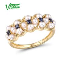 VISTOSO Gold Rings For Women Genuine 14K 585 Yellow Gold Ring Natural Blue Sapphire Fresh Water Pearl Luxury Trendy Fine Jewelry