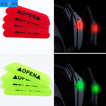 4 Pcs Car Door Safety Warning Reflective Stickers OPEN Sticker Long-distance Reflective Paper Anti-collision Decorative Sticker warning caution mark anti collision prevention reflective open logo ho car auto motorcycle door trunk decal sticker car styling