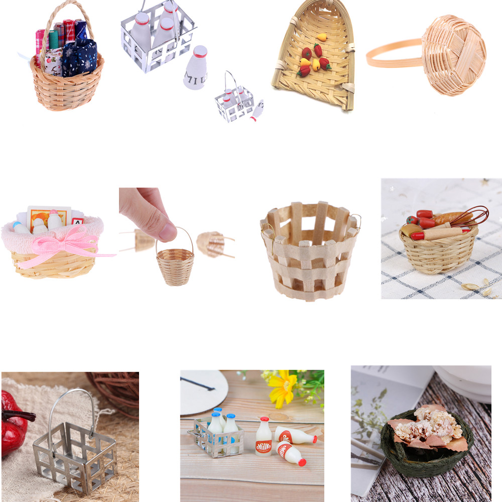1/12 Dollhouse Miniature Mini Bamboo Rattan Frame Basket Sewing With Fabric Milk Basket With Bottles Simulation Food Basket Toys