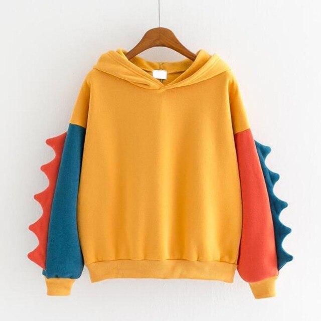 Hoodies Women Fashion Splice Dinosaur Print Sweatshirt Tops Casual Long Sleeve Harajuku Clothes ropa mujer толстовка женская 4