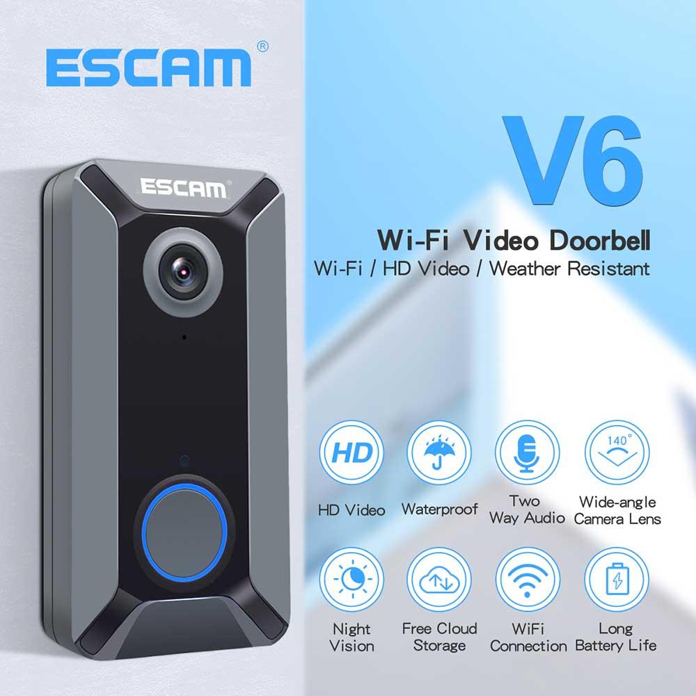 ╚Big SaleESCAM Doorbell Video-Camera Waterproof Home-Security Wireless 720P V6 Battery Free-Cloud-Storageó