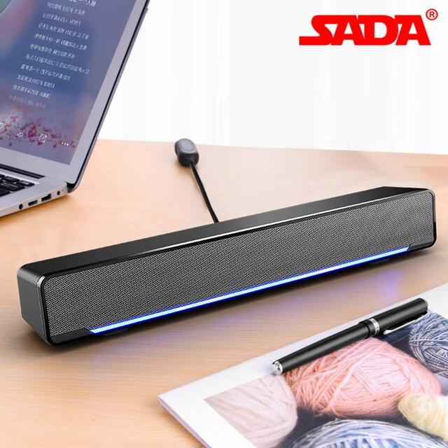 SADA الكمبيوتر مكبر صوت USB السلكية المتكلم بار مضخم صوت ستيريو مشغل موسيقى باس الصوت المحيطي 3.5 مللي متر إدخال الصوت للكمبيوتر المحمول