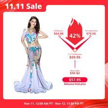 Ropa de danza del vientre vestido largo Sexy de sirena lentejuelas para mujer trajes de danza del vientre Oriental en venta trajes de baile sujetador + falda traje