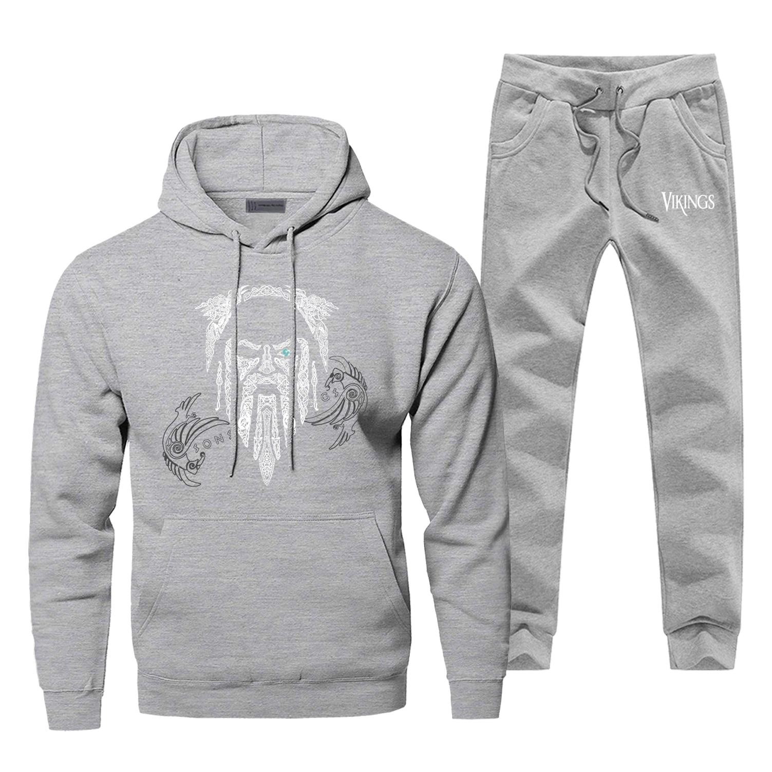 TV Show The Vikings Fleece Hoodies Set Fashion Comfortable Viking Pants Sweatshirt 2019 New Casual Ragnar Odin Men's Jogging