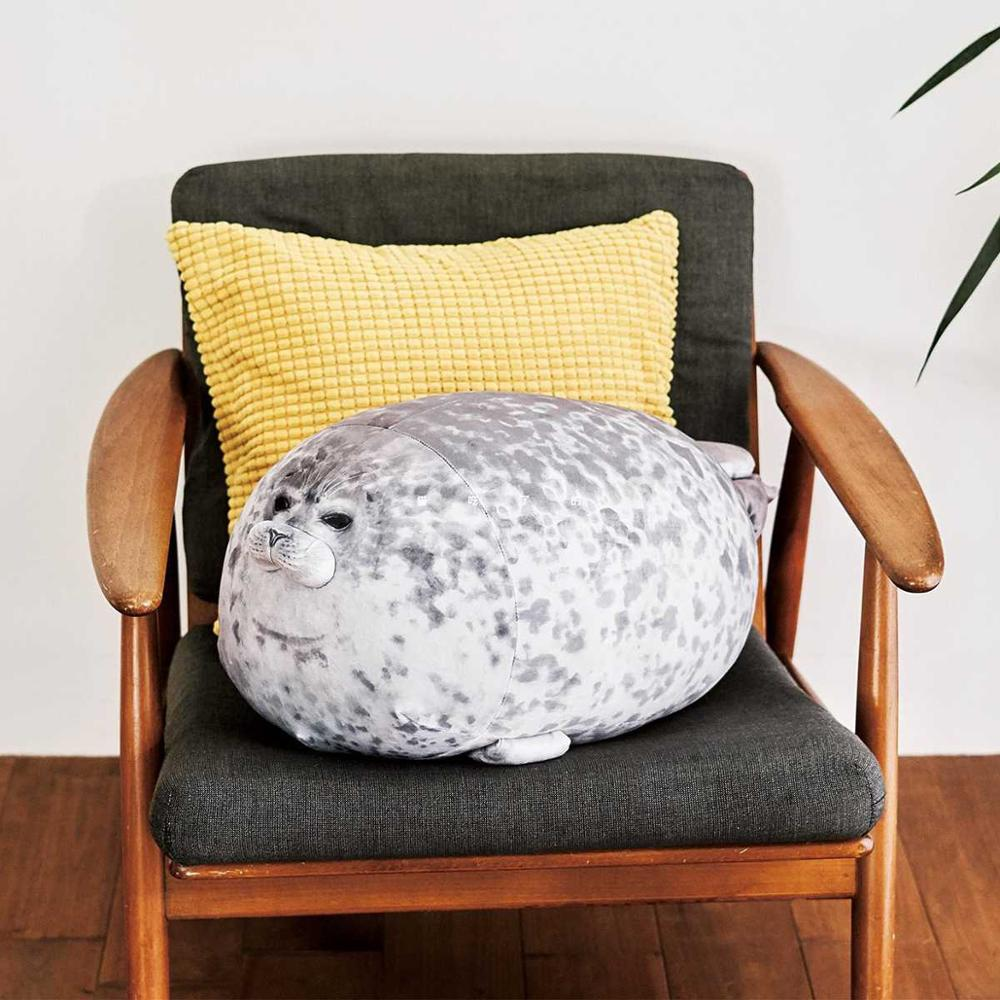 Seal Pillow 3D Cute Plush Novelty Throw Pillows Soft Seal Plush Stuffed Plush Housewarming Party Stuffed Animals Plush Toys
