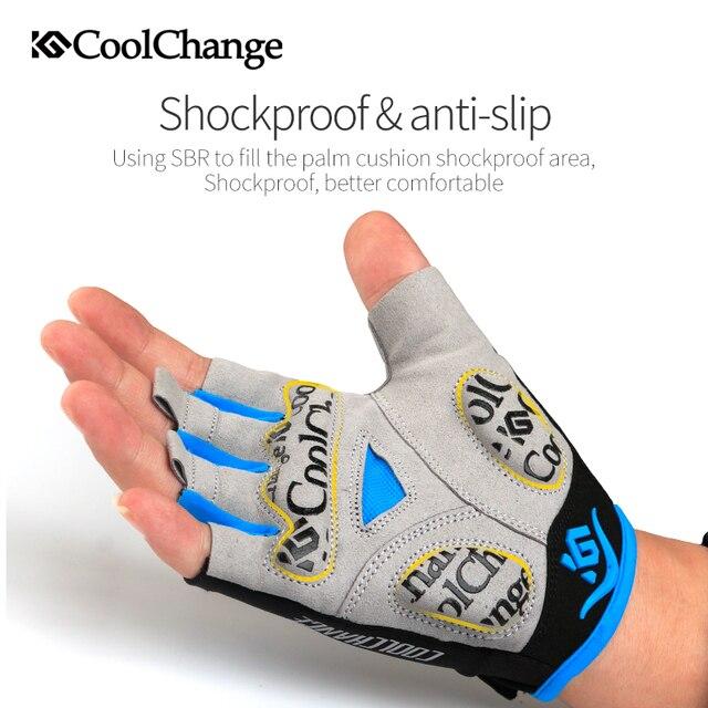 Coolchange luvas de ciclismo metade do dedo dos homens verão esportes à prova de choque bicicleta luvas gel mtb bicicleta luvas guantes ciclismo 5