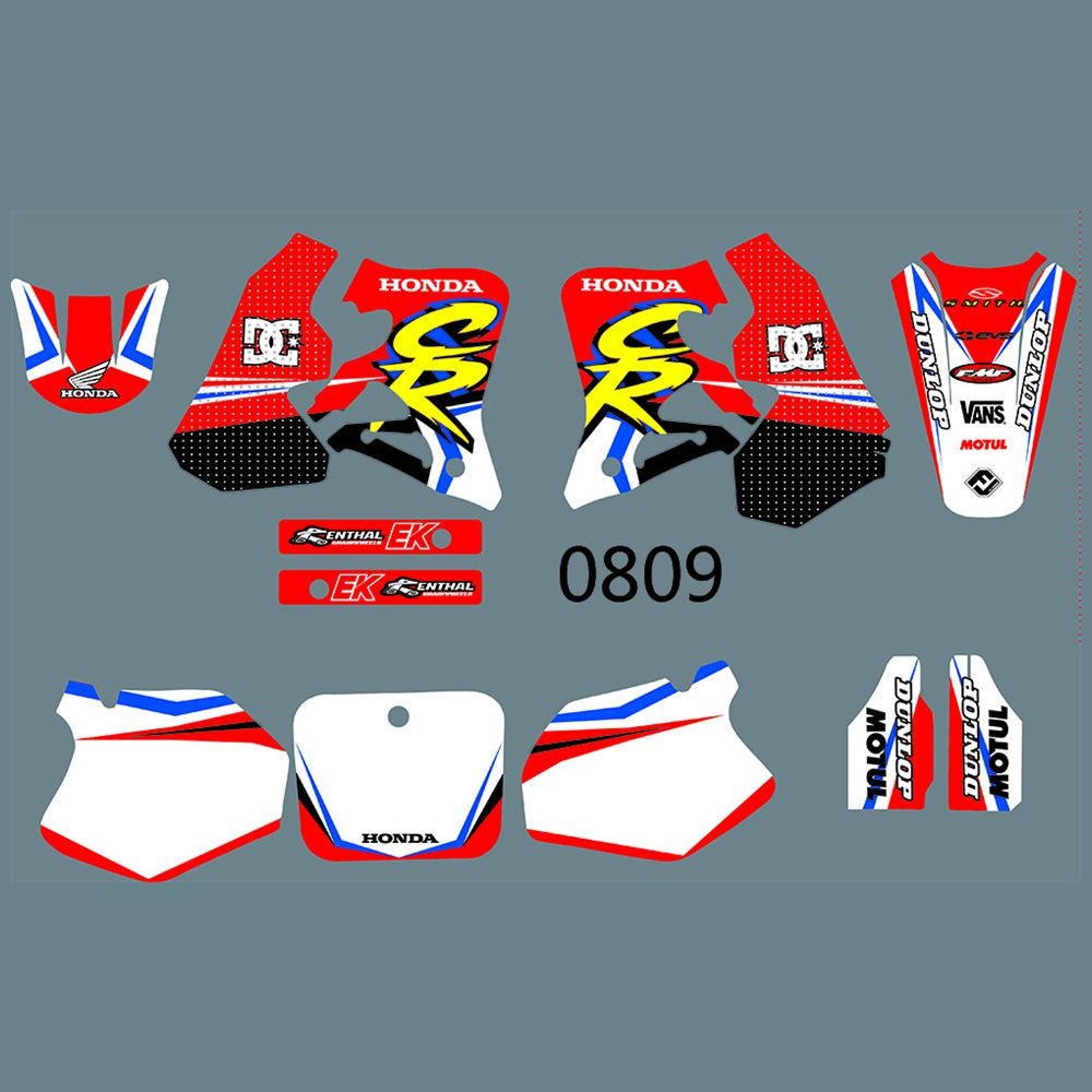 New Full Graphics Decals Stickers Custom Number Name Glossy Bright Stickers Waterproof For HONDA CR250 1995-1996 CR125 1995-1997