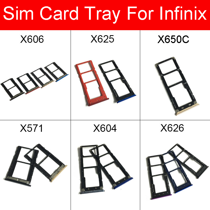 SIM Card Tray Holder For Infinix Hot 6 7 8 Note 4 5 Pro S4 X606 X625  X650C X571 X604 X626 Micro SD Card Slot Repair Parts