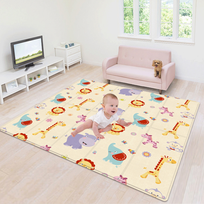 180*100CM Children's Mat Foldable Toys Cartoon Baby Play Mat Double-sided Baby Climbing Pad Kids Rug Waterproof Games Mats Gift