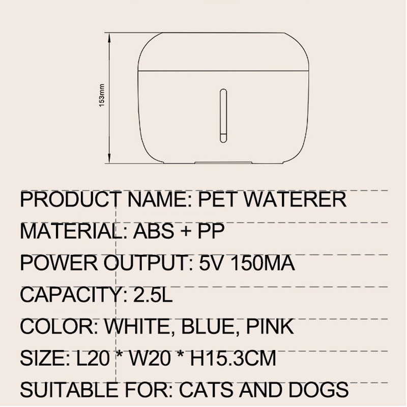 Fonte do gato beber fonte 2.5l automática bebedor tigela de água pet cão gatos dispensador usb elétrico com 1 caixa de filtro 4