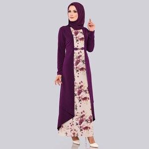 Image 3 - מזויף שני חלקים סט חיג אב שמלת ערבי בגדים אסלאמיים העבאיה נשים הדפסת פרחוני מנהג עממי המוסלמי מקסי שמלות דובאי slim קפטן