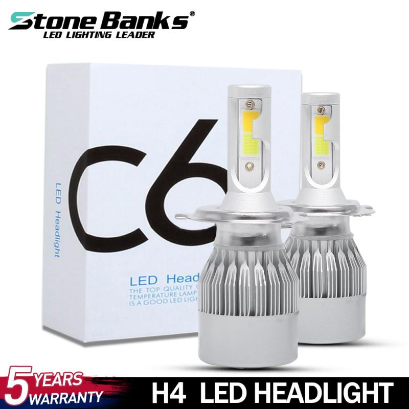 C6 Two-color H4 Car Motorcycle LED Headlights 6000K/3000K White Yellow Light Near Low Beam  For Cars Fog Lights Ships Dropship