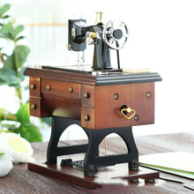 Wooden crafts ornaments simulation sewing machine music box music box birthday gift furniture decoration ornaments the new wooden hand bell music hayao miyazaki totoro music box music box birthday gift resin ornaments