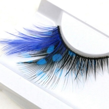 Extra Extension False Eye Lashes 1 Pair Eyelashes Sexy Volume Feather Face Makeup Blue Color