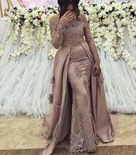 Розовое кружевное платье с длинным рукавом Русалка Вечерние