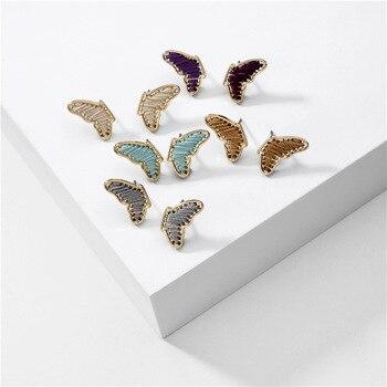 Pendientes de tuerca de mariposa de hilo de moda Pendientes de oreja de color de verano Brincos Pendientes joyería de marca para mujer