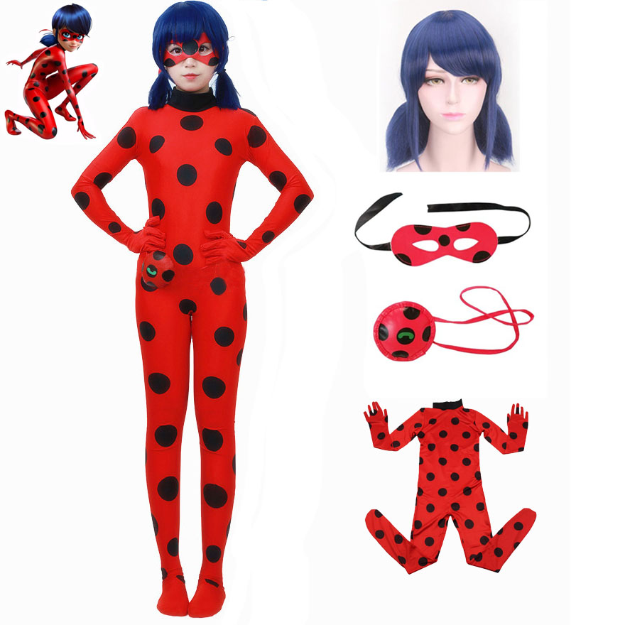 Girls Ladybug Cosplay Costume Adult Kids Halloween Lady Bug Elastic  Jumpsuits Anime Clothing For Girl