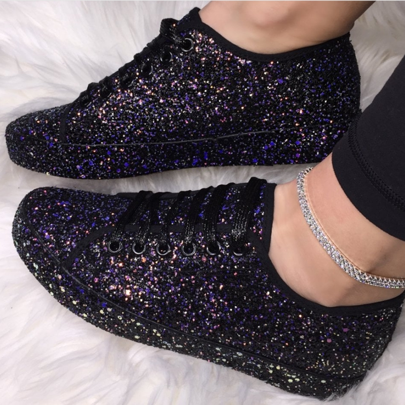 NAUSK Women Lace Up Sneakers Glitter Autumn Flat Vulcanized Ladies Bling Casual Female Fashion Platform Zapatos De Mujer Shoes