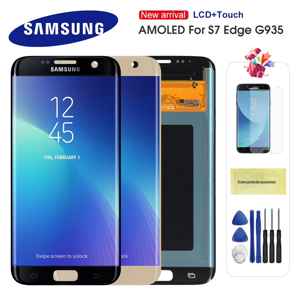 Original AMOLED LCD For Samsung Galaxy S7 Edge LCD G935 G935F SM-G935F Display Touch Screen Digitizer Assembly With Frame image