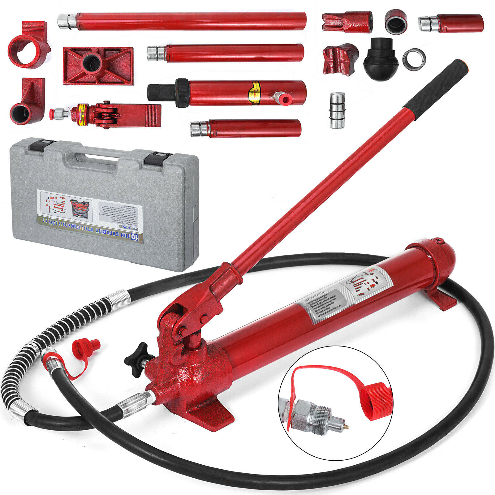 Hydraulic Jack Kit 10 Ton Portable Power Hydraulic Jack Body Frame Repair Kit