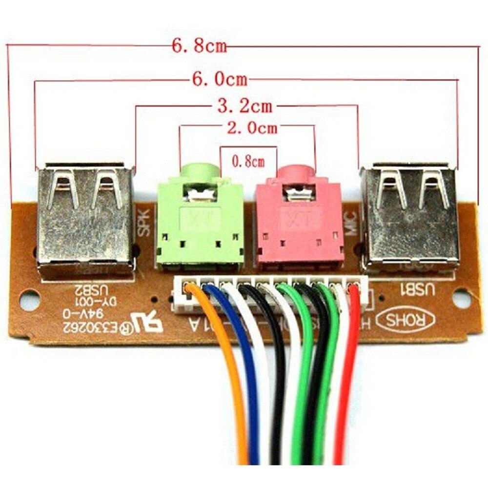 Panneau avant avec câble d'entrée Audio, 6.8cm, 2 ports USB, câble pour micro et écouteurs, câble de remplacement pour ordinateur