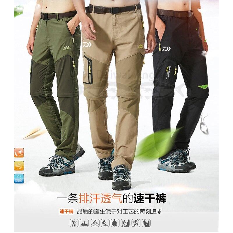 Outdoor Daiwa Fishing Pants Men Detachable Quick Dry Trousers Waterproof Pants Shorts For Hunting Hiking Camping Trekking