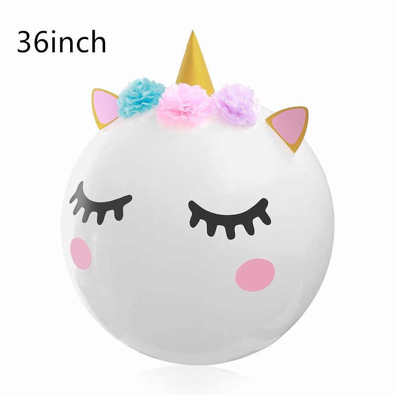 ยูนิคอร์นสีขาวสติกเกอร์บอลลูนบอลลูนโปร่งใสยูนิคอร์นวันเกิดตกแต่งเด็กทารกอุปกรณ์ Baloons Balons